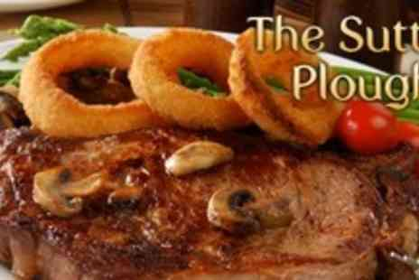 The Sutton Plough - Two Course Pub Meal For Two With Glass of Wine Each - Save 58%