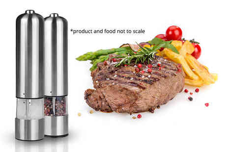 Groundlevel - Pair of electronic salt and pepper mills - Save 72%
