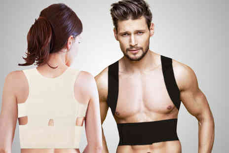 Ckent - Lightweight magnetic stone back posture corrector available in white & black - Save 60%