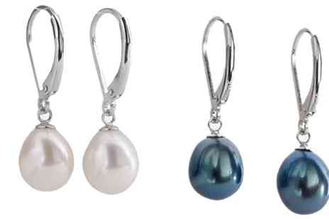 Groupon Goods Global GmbH - One or Two Pairs of Womens Sterling Silver Pearl Drop Earrings - Save 91%