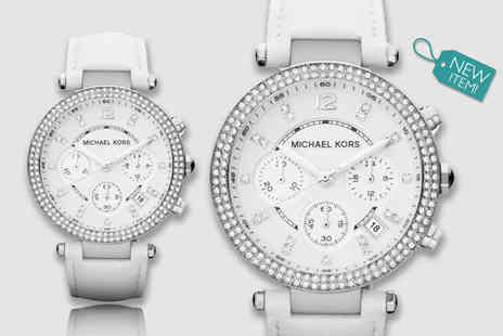 Gray Kingdom - Ladies Michael Kors Parker white MK2277 chronograph watch - Save 56%