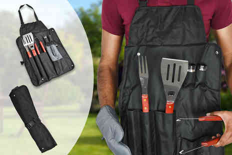 Shop Monk - Seven piece BBQ apron and tools set  just add steaks for a successful outdoor roast - Save 53%