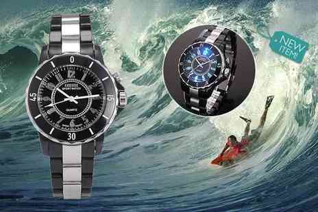 Anielas - Led water resistant black stainless steel watch - Save 57%