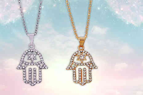 Your Ideal Gift - Hamsa hand crystal pendant choose gold or silver - Save 85%