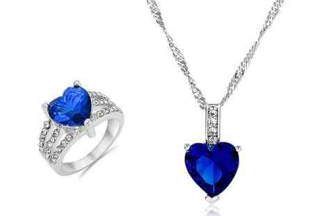 Groupon Goods Global GmbH - Blue Heart Simulated Sapphire Set - Save 0%