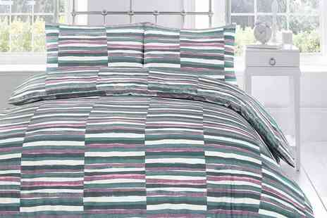 Vistex - Single, double, king or super king size stripe duvet cover set - Save 62%