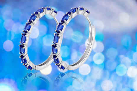 Your Ideal Gift - Pair of created sapphire hoop earrings - Save 80%