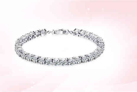 Your Ideal Gift - Round cut created sapphire tennis bracelet sparkle in style - Save 86%