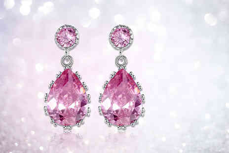 Your Ideal Gift - Pair of pear cut created sapphire earrings choose blue or pink - Save 80%
