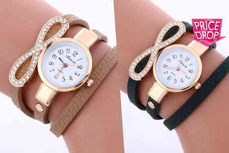 Solo Act - Ladies infinity crystal wrap watch choose from four colours - Save 82%
