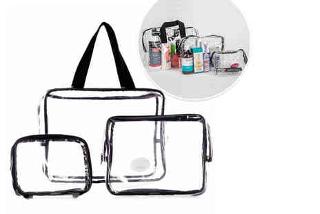Jazooli - Clear three piece makeup travel bag set - Save 77%