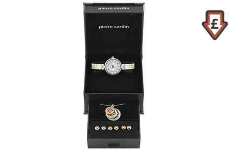 Groupon Goods Global GmbH - Pierre Cardin Womens Wrist Watch, Earring and Necklace Set - Save 0%