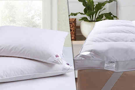 Fusion - Goose Feather & Down Pillows plus Mattress Topper Bundles in 4 Sizes - Save 82%