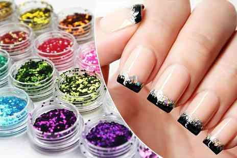 Boni Caro - French tip gel nails with glitter - Save 83%