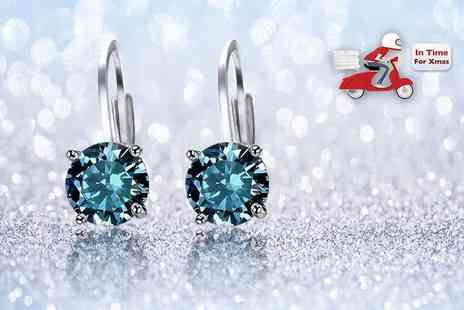 Evoked Design - Pair of blue topaz earrings choose from white gold or yellow gold plated - Save 86%