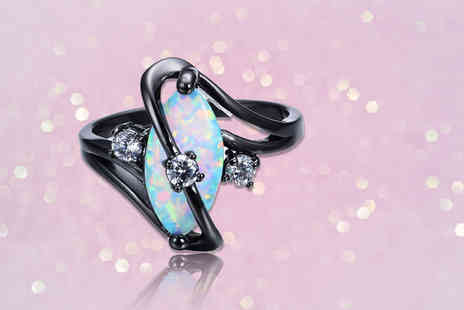 Your Ideal Gift - Marquise cut created opal gemstone ring - Save 84%