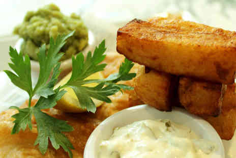Barca - Fish and chips for two people with a bottle of wine to share at Barca, Manchester - Save 55%