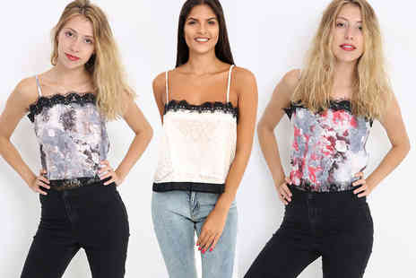 Verso Fashion- Lace Cami top select from UK sizes 6 to 14, three colours - Save 75%