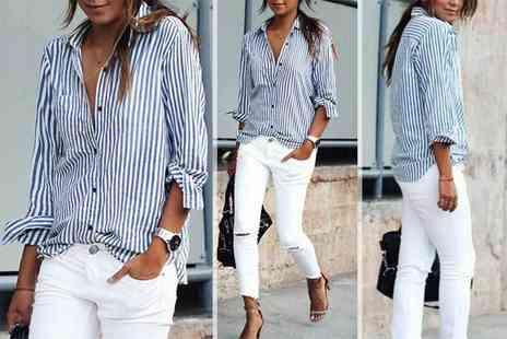 Verso Fashion - Ladies striped shirt get a chic weekend style - Save 56%