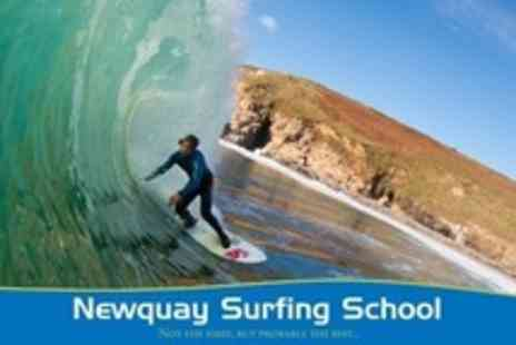 Newquay Surfing School - Full Day Surfing For One With Lesson, Plus Board and Wetsuit Hire - Save 56%