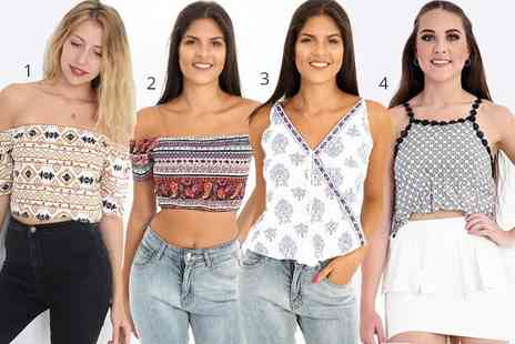 Verso Fashion - Printed mosaic cami top, or choice of six other printed tops - Save 75%