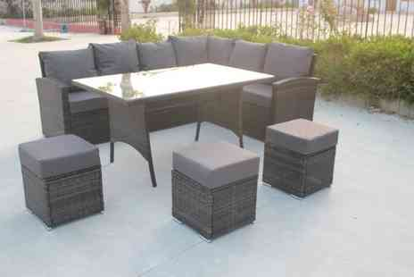 Outgo - 9pc rattan garden sofa & table set with a rain cover - Save 49%