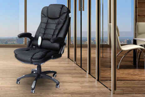 Product Mania - Black faux leather massaging office chair - Save 63%