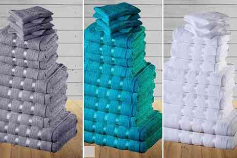 Groundlevel - Eight piece Egyptian cotton towel set with viscose stripe detail - Save 88%