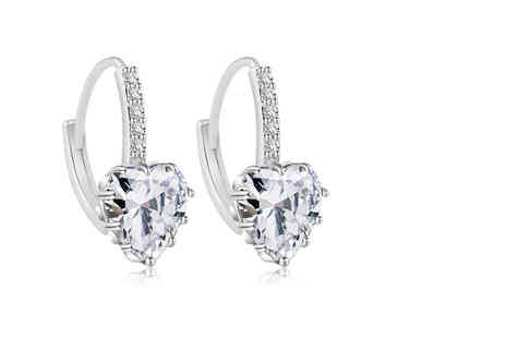 Your Ideal Gift - Pair of heart cut clear created sapphire earrings - Save 85%