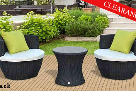 Mhstar - Outsunny Three Piece Garden Rattan Vase Chair Brown - Save 21%