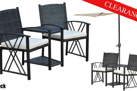 Mhstar - Black or Beige Two Seater Rattan Chair Set with Umbrella - Save 34%