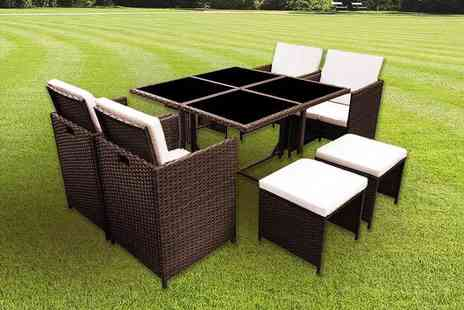 Evre - Nine, 11 or 13 piece rattan cube furniture set choose black or brown - Save 72%
