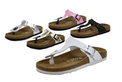 Groupon Goods Global GmbH - Womens Mojo Suede Lined Moulded Footbed Toe Post Sandals - Save 0%