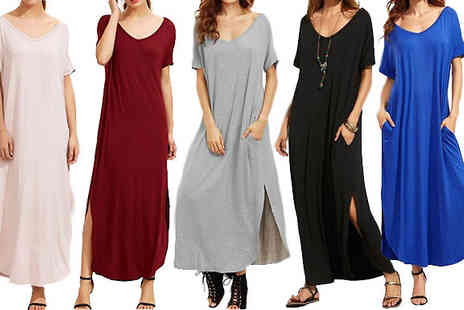 Black Sheep - Oversized Maxi Dress with Pockets Choose From Five Colours - Save 67%