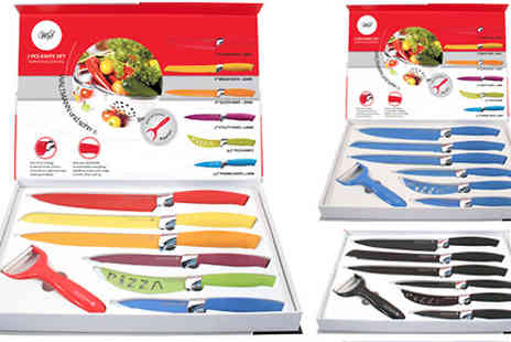 Direct 2 public - Seven Piece Knife Set Available in Five Colours - Save 92%
