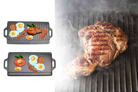 Zoozio - Non stick iron reversible griddle plate pan - Save 58%