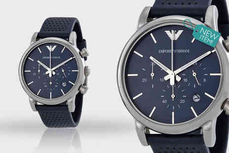 Gray Kingdom - Mens Emporio Armani AR1736 blue leather watch - Save 52%