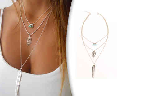 Solo Act - Set of two silver and gold layered feather necklaces - Save 70%