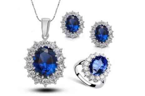 Groupon Goods Global GmbH - September Birthstone Necklace, Earrings and Ring Set - Save 80%