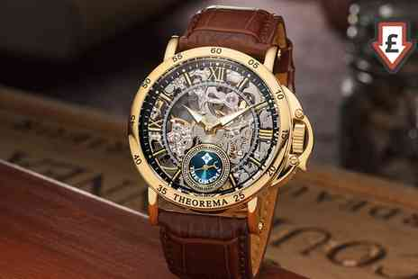 Groupon Goods Global GmbH - Theorema Mechanical Mens Skeleton Casablanca Watch with 17 Stones Include Free Delivery - Save 83%