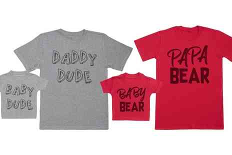 Groupon Goods Global GmbH - Baby Dude and Daddy Dude or Baby Bear and Papa Bear Matching Father and Baby T Shirt Set - Save 47%