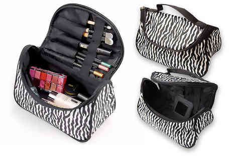 Toy Meets World - Cosmetic travel bag with makeup brush holder - Save 72%