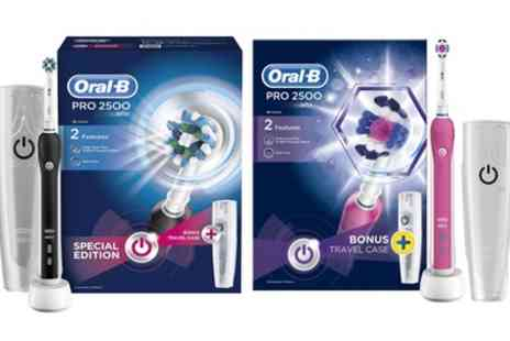 Groupon Goods Global GmbH - Oral B Pro 2500 or 3D White Electric Rechargeable Toothbrush with Optional Plug - Save 60%