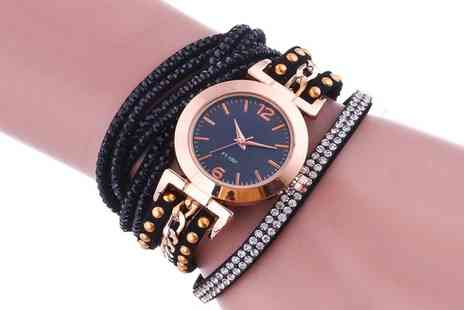 Groupon Goods Global GmbH - Womens Ruby Wrap Watch with Crystals - Save 76%