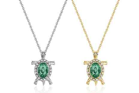 Neverland Sales - One or Two Neverland Sales Turtle Necklaces with Crystals Include Free Delivery - Save 69%