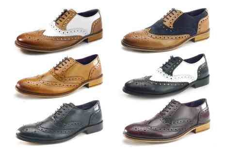 Groupon Goods Global GmbH - Frank James Leather Mens Brogue Shoes - Save 50%