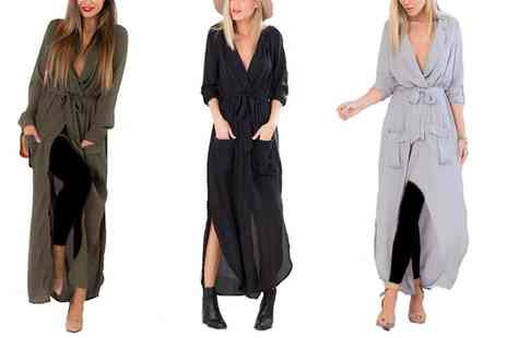 Groupon Goods Global GmbH - Womens Belted Tunic Maxi Dress - Save 0%