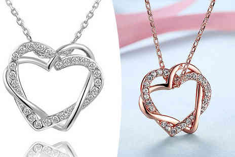 YEPKO - Double Heart Swarovski Elements Crystal Necklace in 2 Colours - Save 78%