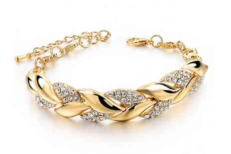 Richardson Group - Braided Gold Leaf Crystal Bracelet - Save 82%