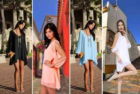 Paperdollz - V neck chiffon open-sleeved dress choose from four colours - Save 70%